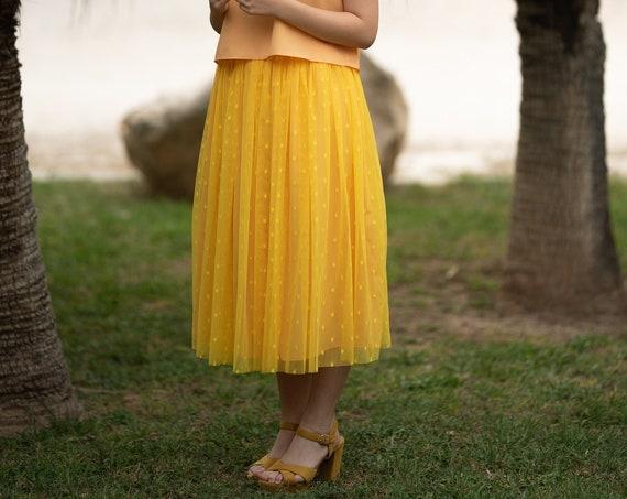 Plumeti Tulle Yellow Skirt, Bridesmaid Skirt, Polka Dot Tulle Skirt, Boho Chic Yellow Midi Skirt, Soft Tulle Skirt, Summer Skirt, Wedding