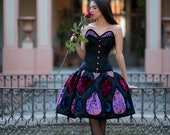 Haute couture - Gothic fantasy dress - Fairy princess wedding dress - Fairytale - Blue - Purple - Burgundy - Velvet - Brocade - Crystals