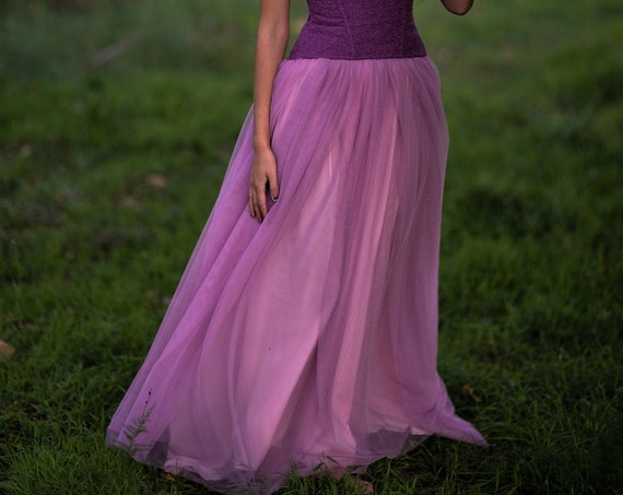 Purple lilac floor length maxi tulle fairy skirt perfect bridal separates for fantasy and romantic wedding available in 6 colors