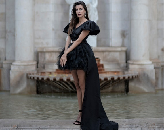 Black women haute couture high low dress perfect holiday prom dress great for cocktail or new years party