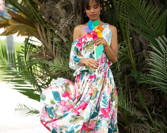 Floral Maxi Dress, Colorful Long Dress, Summer Floor Dress, Tropical Dress, Off The Shoulder Dress, Flare Dress, Loose Fit Dress, Ruffle