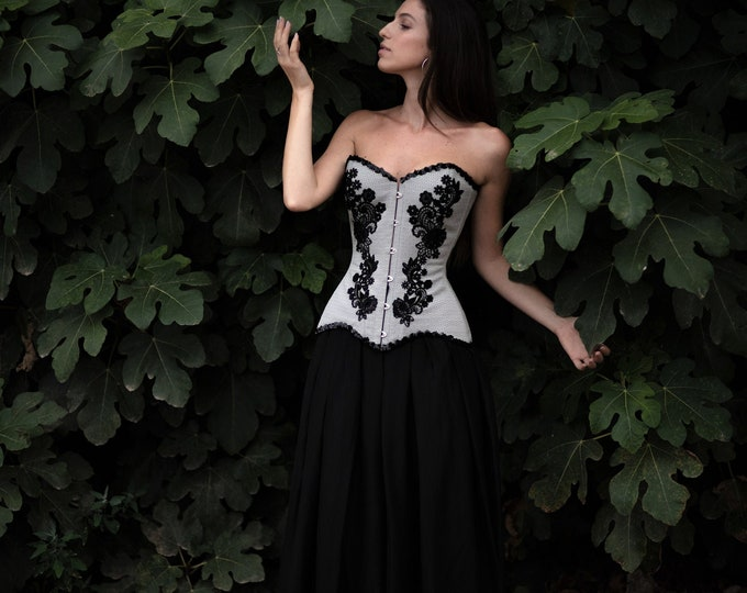 Black wedding dress made from overbust corset, long black chiffon skirt  perfect for gothic or halloween wedding