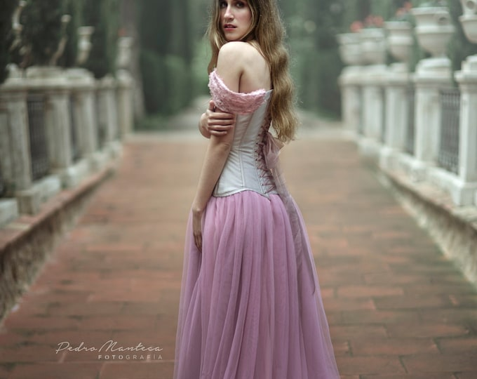 Lilac fairy wedding dress, Off shoulder tulle bridal dress, Romantic tulle gown, Fantasy princess themed wedding, Mauve wedding corset gown