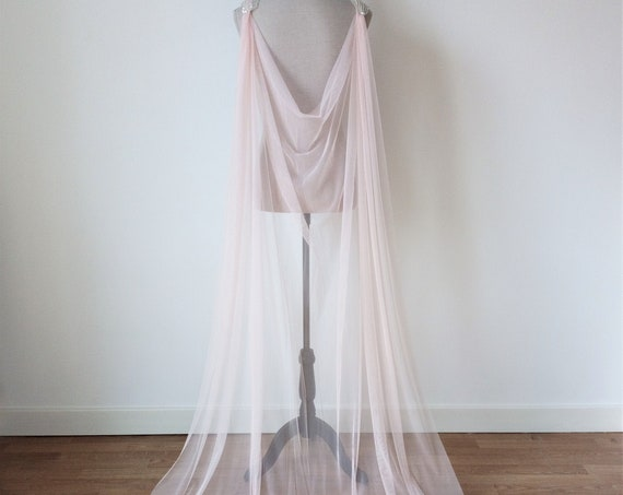 Pink Bridal Cape, Pink Tulle Cape Veil, Blush Pink Overdress Cloak, Fantasy Wedding Dress, Pink Wedding Cape for Fairy Wedding, Blush Tulle
