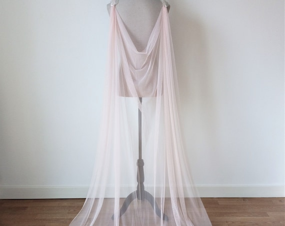 Pink Wedding Cloak, Fantasy Wedding Cape, Rose Tulle Bridal Cloak, Princess Wedding, Fairy Wedding, Wedding Cape Veil, Bridal Long Cover Up