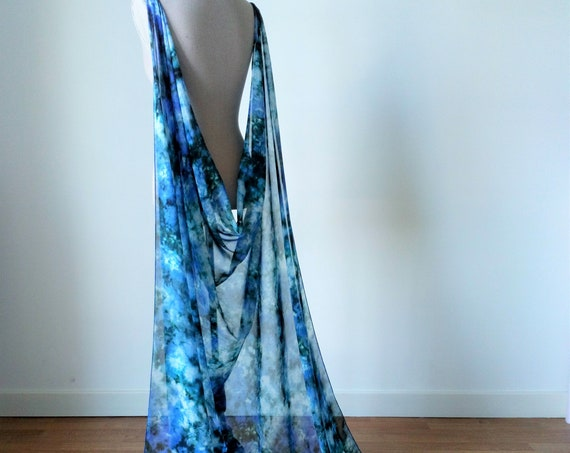 Blue Tie Dye Cloak, Wedding Cloak, Wedding Long Cape, Fantasy Wedding, Fairytale Cloak, Elven Wedding, Long Shoulder Train, Princess Cloak