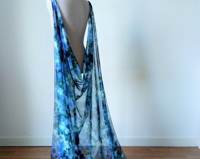 Blue elven cape, Chiffon cloak for fantasy wedding, Elven shoulder cape, Long blue wedding cape, Tie dye cloak, Fairytale wedding dress cape