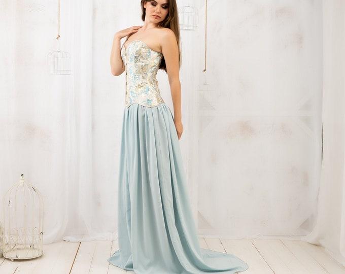 Fantasy wedding corset maxi dress for fairy bride, Cream and blue elven dress, Elf princess dreamlike reception dress, Medieval costume gown