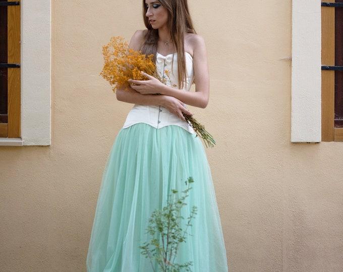 Mint Wedding Dress, Mint Green Tulle Dress, Fairytale Wedding Dress, Corset Bridal Gown, Princess Ballgown, Elven Dress Wedding, Bridgerton
