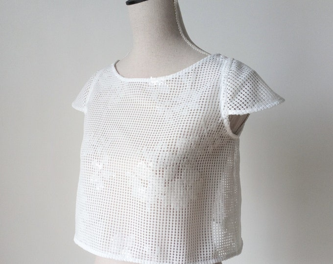 Wedding Crop Top Lace, Lace Bridal Crop Top, Wedding Top Separate, White Short Sleeve Lace Top, Minimalist Wedding Top, Lace Bridal Topper