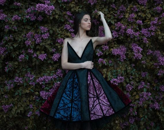 Fantasy Dress, New Years Dress, Elven Dress, Velvet Gothic Dress, Haute Couture Prom Dress, Lolita dress, Fairy Dress, Corset Dress, Holiday