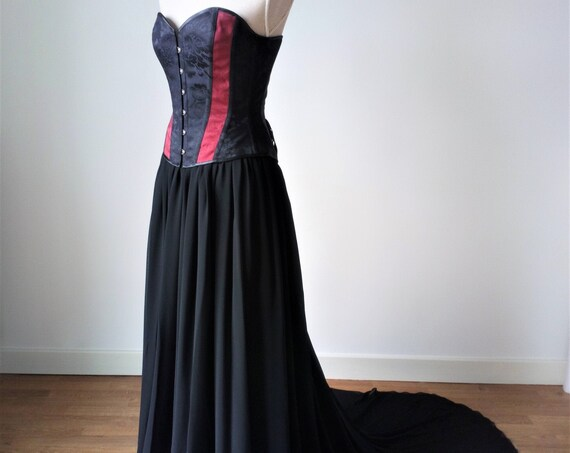 Black Wedding Dress, Gothic Wedding Dress, Black And Red Corset Dress, Chiffon Floor Skirt, Brocade Corset, Steampunk Wedding, Vampire Dress