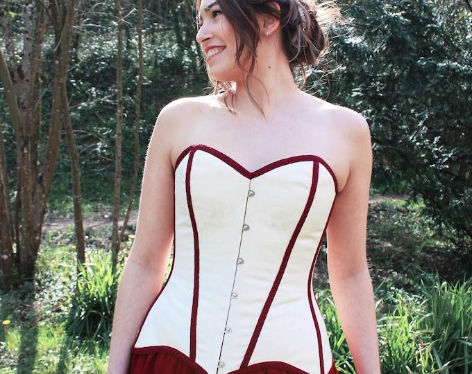 Victorian Wedding Corset, Bridal Top Corset, Goth Wedding Corset, Autumn Bridal Dress, Cream Corset Overbust, Bridal Corset Victorian Gothic