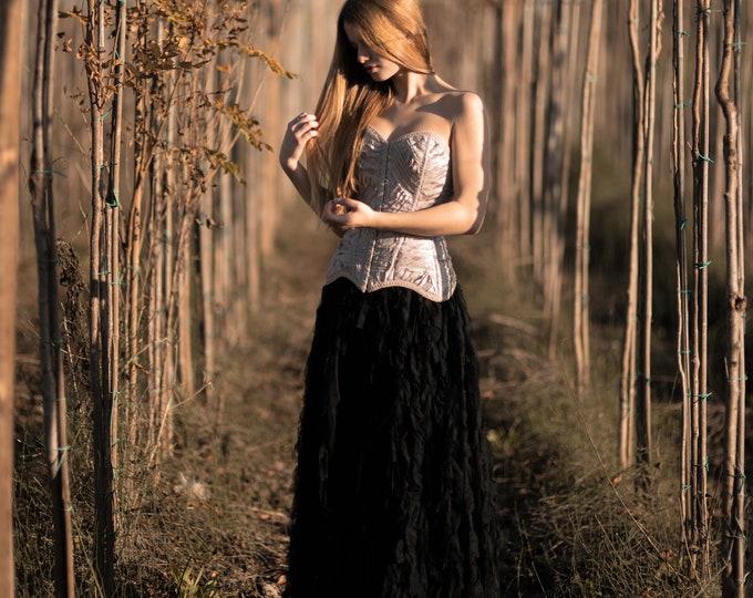 Ready to ship sweetheart gothic black full ballgown, Black and blush alternative wedding prom party dress, Engagement photo dress goth boho