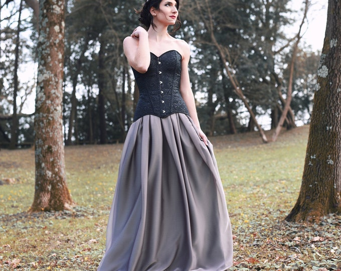 Boho alternative black wedding dress, Grey witch bridal skirt and corset, Flowy bride gown for moody enchantress fairytale small nuptial