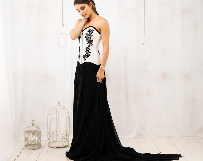 Elegant black and white wedding dress custom size for goth ball halloween, Dramatic gothic gown with boned corset bodice, Dark fantasy dress