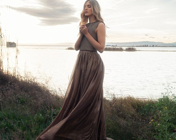 Gold Maxi Dress, Ball Gown, Goddess Dress, Ethereal Long Dress, Chiffon Dress, Mother Of The Bride Dress, Alternative Wedding, Nymph Dress