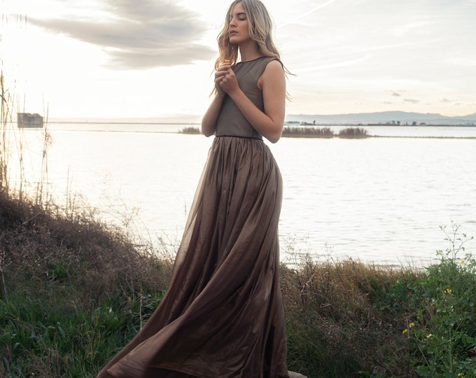 Ethereal gold chiffon dress for fall nymph wedding, Sleeveless flowy maxi dress for pagan bride, Egyptian goddess inspired bridal gown boho
