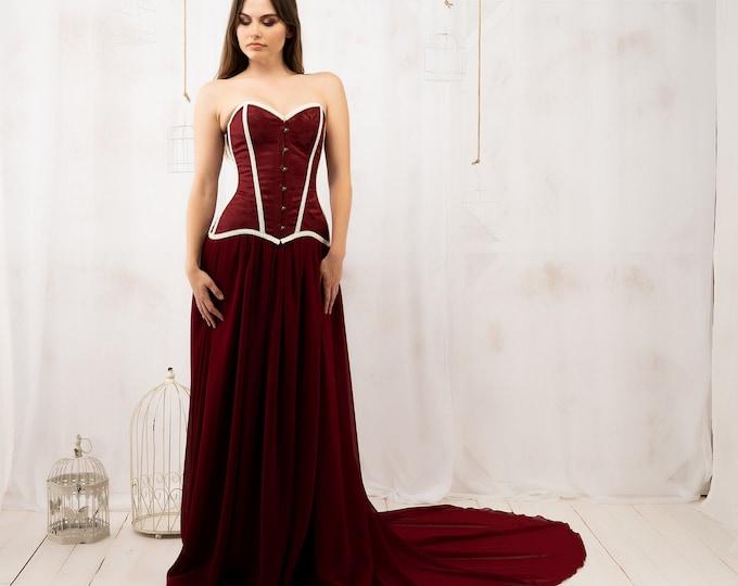 Dark medieval burgundy wedding dress fantasy with corset, Pagan princess bridal gown deep wine red, Samhain maroon dress hallowedding ritual