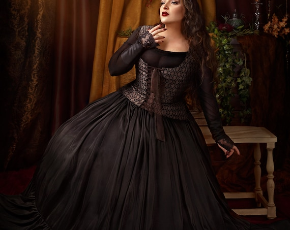 Black victorian or steampunk ball dress perfect for gothic or witch wedding great haute couture props dress for alternative wedding