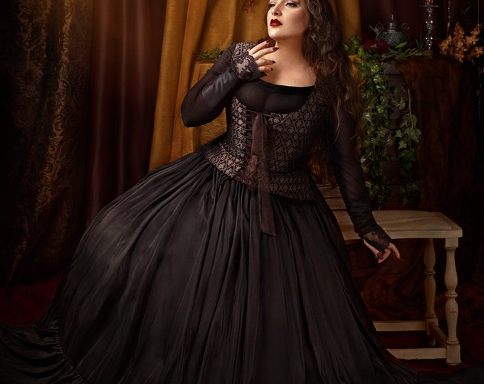 Black victorian or steampunk ball dress perfect for gothic or witch wedding great haute couture props dress for themed wedding