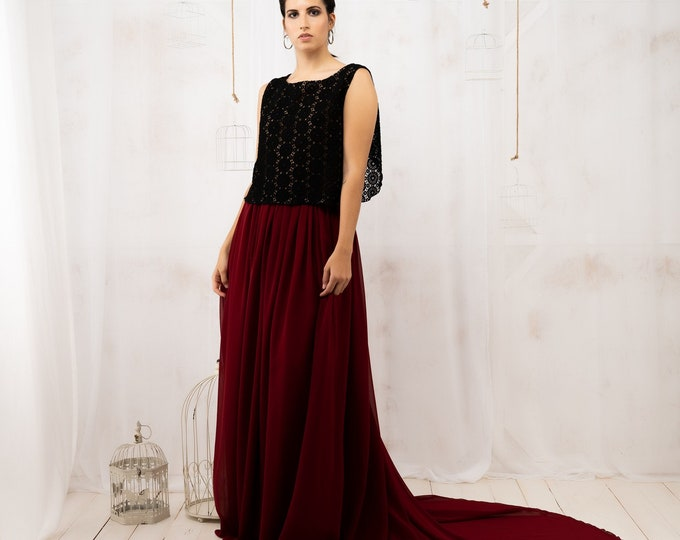 Nontraditional dark red and black wedding gown for autumn fall reception for bride, Open back dress lace made to order for moody elopement