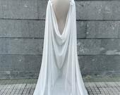 Wedding cloak for brides, Viking wedding cape, Norse pagan dress cape, Chiffon long cloak, Natural white bridal cape, Medieval fantasy elope