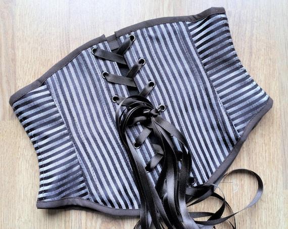 Brown Underbust Corset Belt, Striped Renaissance Corset, Medieval Waist Cincher, Steampunk Waist Belt Corset, Pirate Costume Corset, Vintage