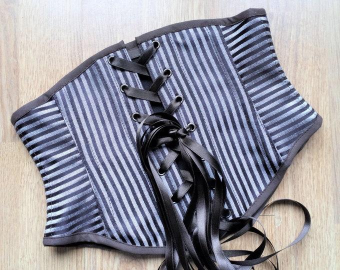 Pirate underbust corset belt, Striped renaissance corset, Medieval swiss waist cincher, Vintage waist corset, Thin renaissance costume belt
