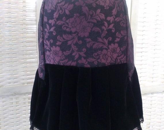 Brocade Steampunk Skirt, Velvet Goth Skirt, Victorian Gothic Skirt, Dark Victorian Clothing, Elegant Vampire Goth, Dark Medieval Short Dress
