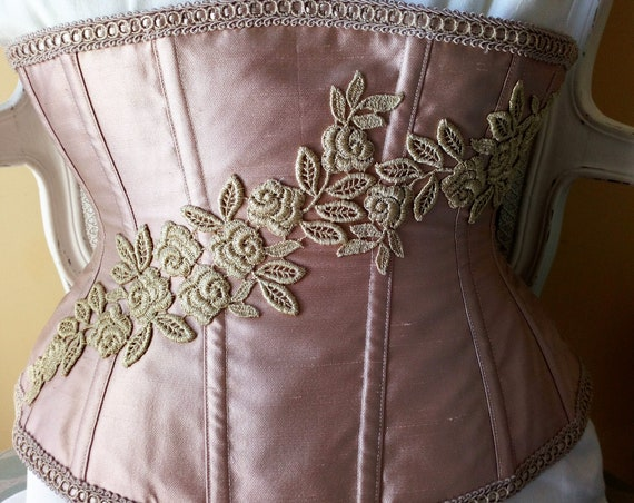 READY TO SHIP 25'' Pink Underbust Corset, Wedding Night Lingerie, Bridal Night Corset, Silk Underbust Corset, Bridal Underwear, Fantasy