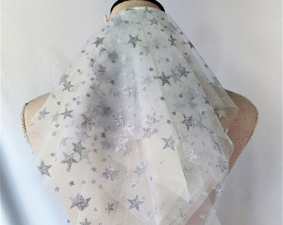 Celestial Wedding Veil, Star Bridal Veil Comb, White Tulle Veil, Silver Glitter Stars, Fantasy Wedding, Constellation Veil, Short Veil