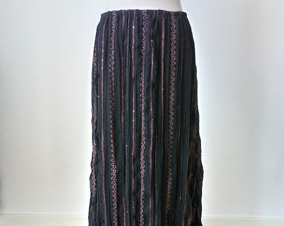 Gipsy pirate skirt for summer festival, Long witchy skirt perfect for brown gothic dress, Medieval black skirt, Pagan viking clothing