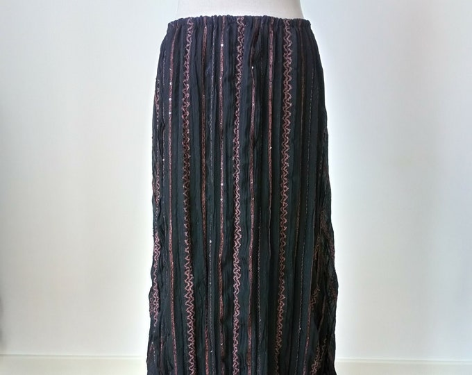 Medieval wench pirate skirt for renaissance festival, Black and brown long witchy skirt, Pagan black skirt for viking costume octoberfest