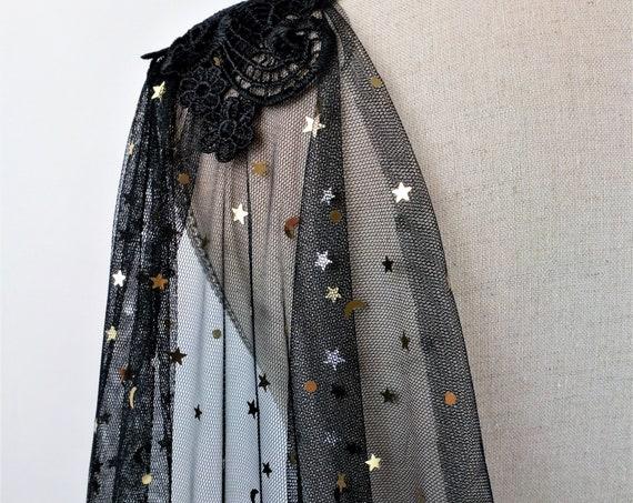 Black Wedding Cape, Celestial Bridal Cape, Star Celestial Cape Veil, Black and Gold Wedding Cloak, Halloween Bridal Cape, Dark Fantasy Witch