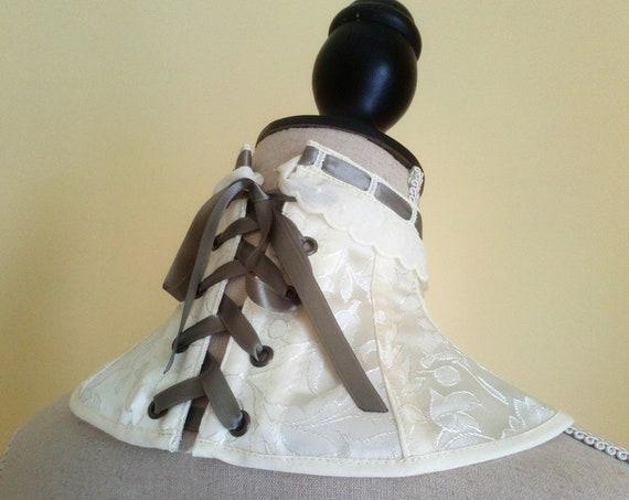 Ivory Neck Corset, Victorian Neck Corset, Steampunk Corset Collar, Brocade Neck Corset, Victorian Cosplay, Wedding Neck Corset,Collar Choker