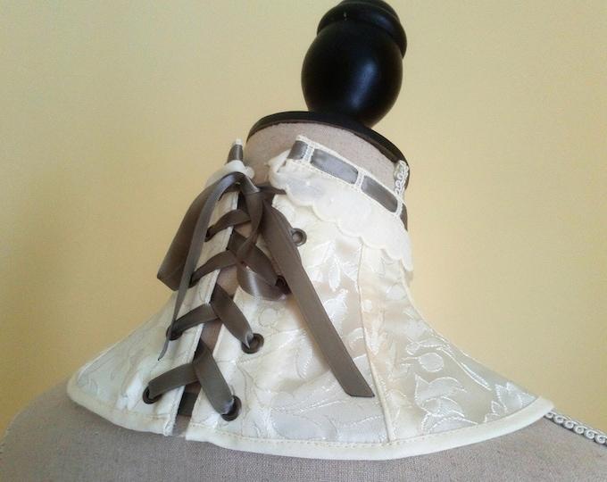 Ivory Neck Corset, Victorian Neck Corset, Steampunk Corset Collar, Brocade Neck Corset, Victorian Cosplay, Vampire Costume, Collar Choker