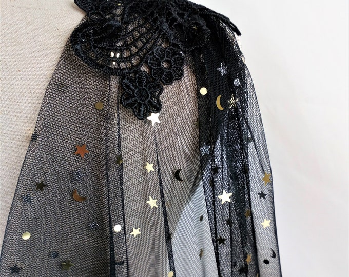 Black Witchy Cloak, Tulle Veil Cape, Night Sky Celestial Cloak, Black Wedding Cape, Bridal Long Cape, Couture Cloak, Gothic Wedding