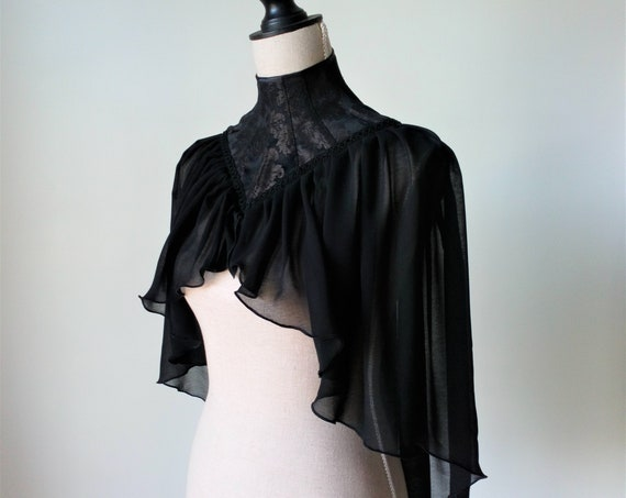 High Neck Cape, Gothic Capelet, Gothic Wedding Cape, Neck Corset Cape, Witch Props Costume, Black Victorian Cape, Mourning Cape, Dark Queen