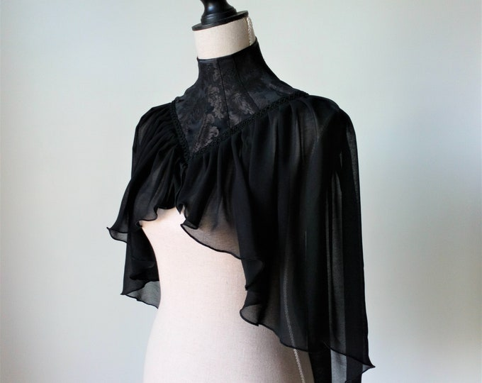High Neck Cape, Gothic Capelet, Gothic Wedding Cape, Neck Corset Cape, Witch Props Costume, Black Victorian Cape, Mourning Cape, Dark Queen