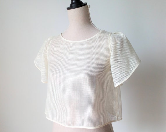 Bridal Crop Top, Bridal Separates Top, Short Sleeves Top, Minimalist Design, Modern Wedding Crop Top, Wedding Cover Up, Women Boxy Top, Boho