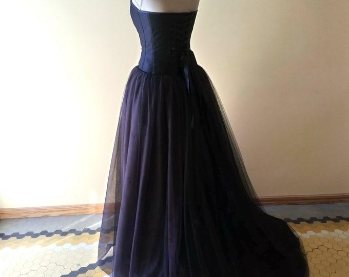Halloween Wedding Black Dress, Wedding Corset Dress, Black Tulle Bridal Dress, Tulle Weeding Dress Black, Halloween Bride Gown Strapless