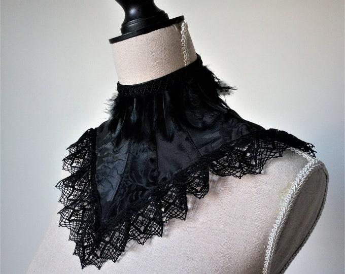 Vampire neck corset for halloween bridal dress, Victorian posture corset bdsm, Feather posture collar Goth vampiric choker Raven neck collar