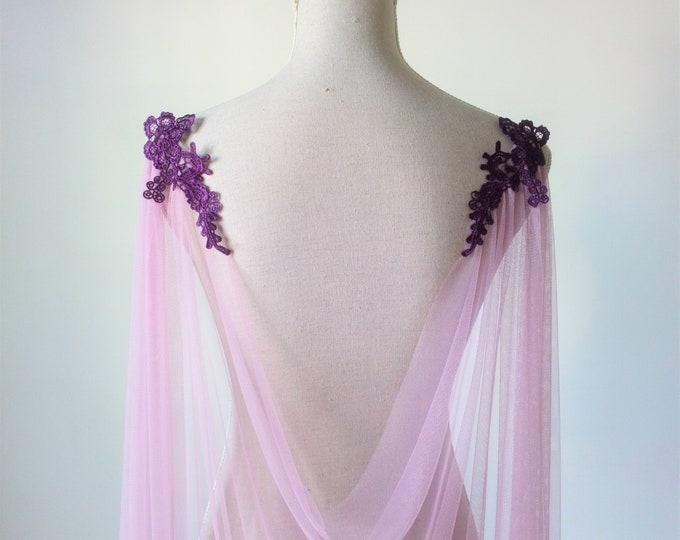 Purple Wedding Cape, Purple Bridal Cape Veil, Wedding Purple Capelet, Lavender Bridal Cloak, Tulle Shoulder Veil, Lila Princess Cover Up