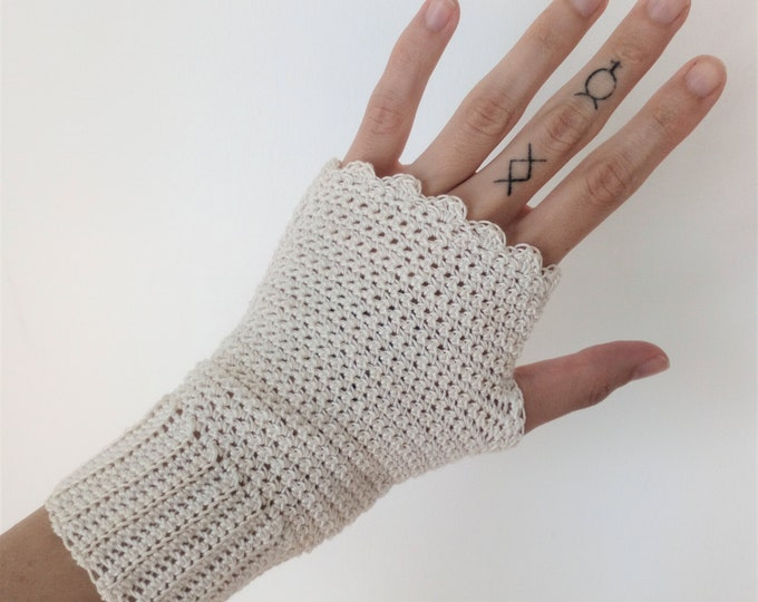 Fingerless crochet mittens for winter viking wedding, Handcrafted bridal gloves for boho handfasting celebration, Cottonmade victorian glove