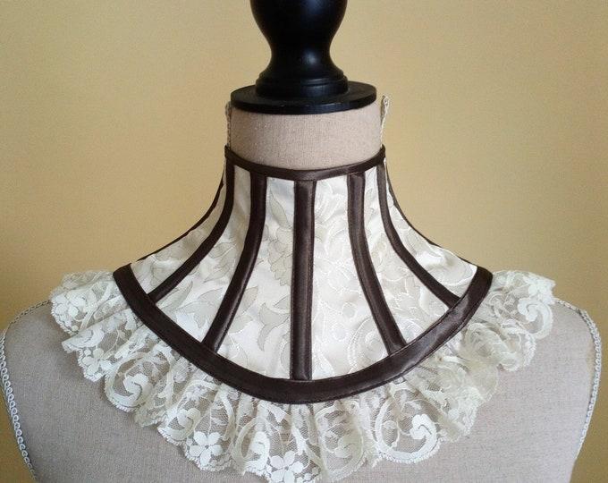 Victorian neck corset, Steampunk corset collar, Bdsm corset for neck, Boudoir cosplay choker, Brocade corset neck Victorian collar bdsm lace
