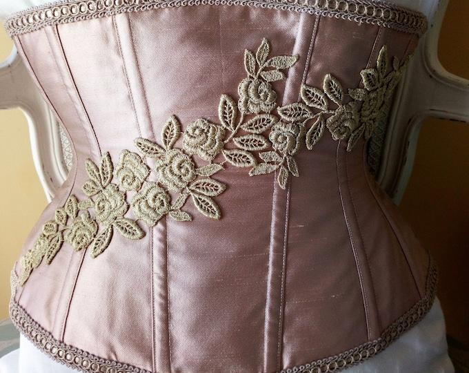 Blush pink silk corset, Pale pink vintage style lingerie corset, Size 25'' corset underbust, Real silk waist training stealth corset pink