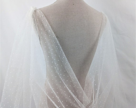 Fantasy long bridal cape veil made of ivory polka dot tulle like a snowflakes great for spring wedding perfect wedding cover up