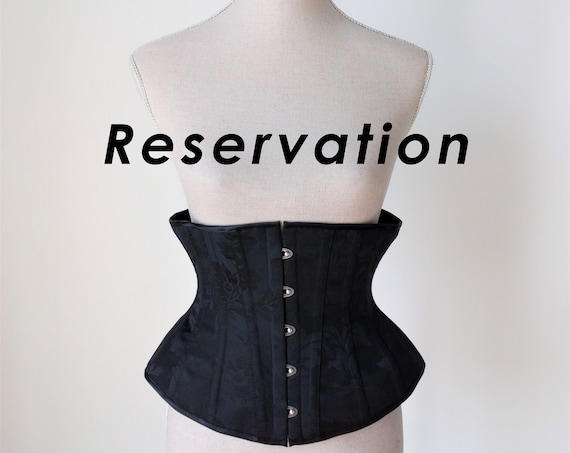 RESERVATION for corset, Tightlacing corset, Waist training, Gothic wedding, Brocade underbust corset, Black underbust, Steampunk, Fantasy