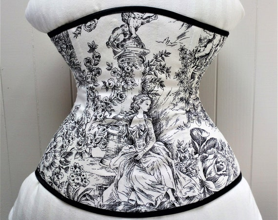 Victorian Underbust Corset, Black And White Print Corset, Corset Lingerie, Victorian Style, Tightlacing Corset, Edwardian Corset, Gothic